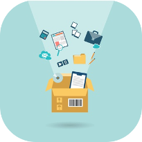 supplies in a cardboard box